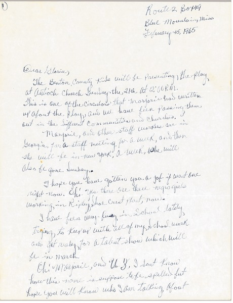 Letter from Charleane Hill to Gloria Xifaras Clark, February 15, 1965