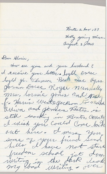 Letter from Imogene Reaves to Gloria Xifaras Clark, August 2, 1965