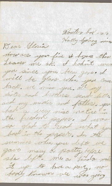 Letter from Imogene Reaves to Gloria Xifaras Clark, 1966