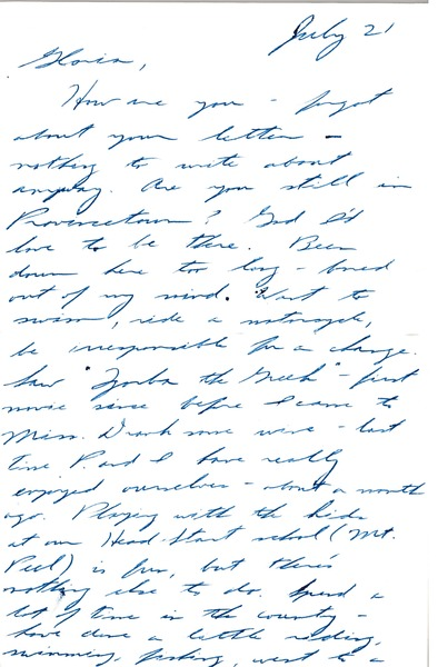 Letter from Ken Scudder to Gloria Xifaras Clark, July 21, 1966
