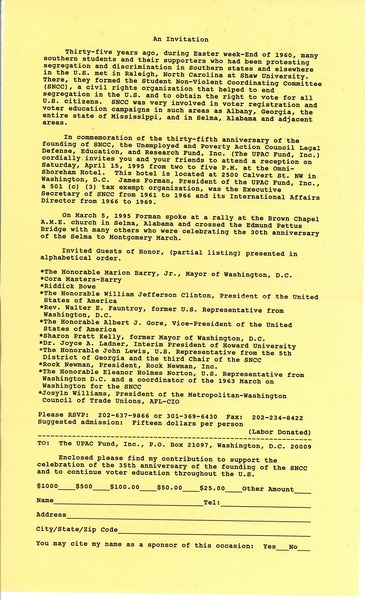 Invitation to the anniversary of the Student Nonviolent Coordinating Committee, 1995