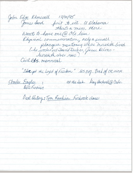 Notes on Oral History Interviews, December 20, 1995