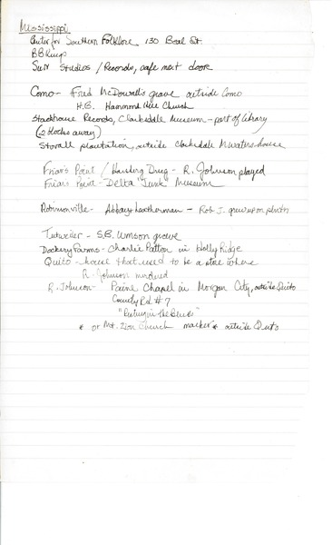 Notes by Gloria Xifaras Clark, 1994