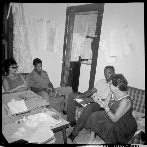 Aviva Futorian, Charles T. Scales, William Scott, and Debbie Flynn (l. to r.) at Freedom            House, ca. 1964