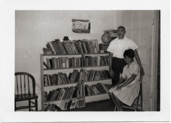 Unidentified civil rights workers in the library of Freedom House, ca. 1965