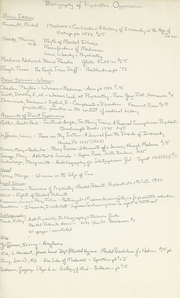 Bibliography of psychiatric oppression, ca. 1975