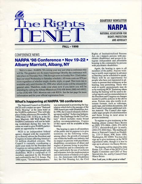 The  Rights Tenet, September 1998–November 1998