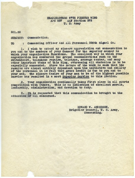 Memorandum from United States Army to Commanding Officer and 326th Signal Company, ca. 1944