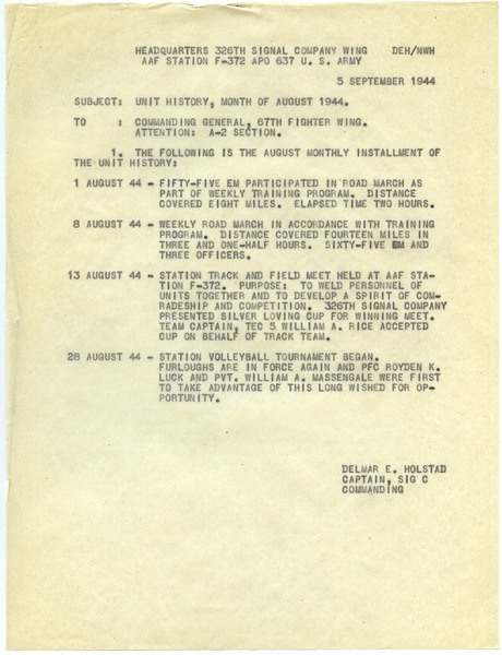 Memorandum from 326th Signal Company Wing to 67th Fighter Wing, ca. September 5, 1944