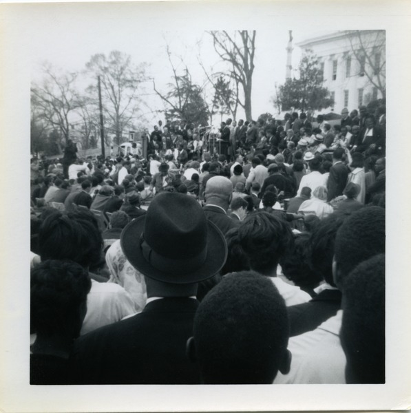 Crowd watching Martin Luther King speak from the Alabama state capitol steps, ca. March 25, 1965