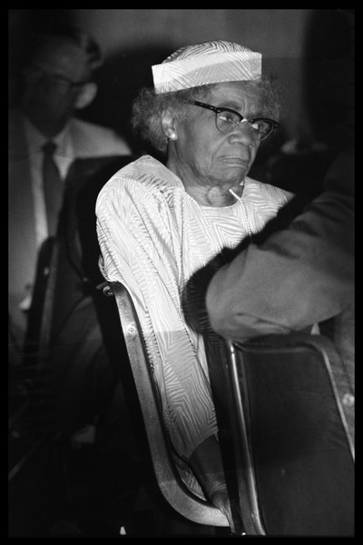 Emma Berdis Jones Baldwin (James Baldwin's mother) in the audience at James Baldwin's birthday celebration, August 1984