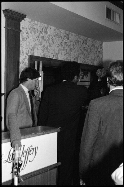 Jesse Jackson nearing the podium to address the crowd: Reception for presidential candidate Jesse Jackson at the Lord Jeffery Inn: , 1984