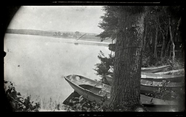 Lake Pleasant: Boats on the shore of the lake: , ca. 1900