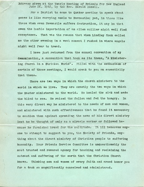 Address given at the Yearly Meeting of Friends for New England June 26, 1942, by