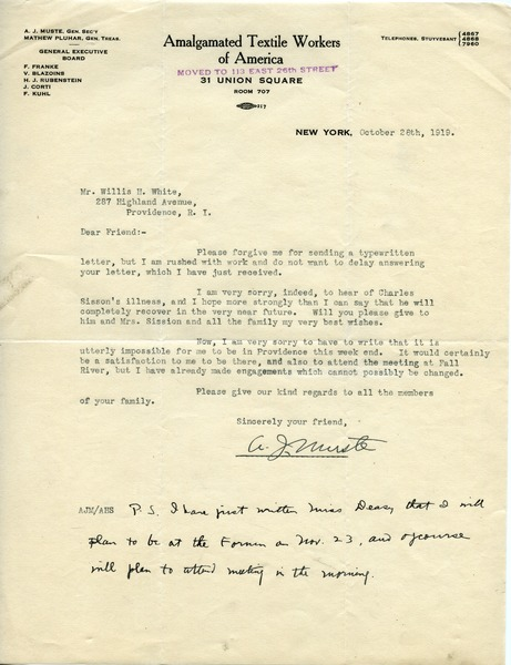 Letter from A. J. Muste to Willis H. White, October 28, 1919