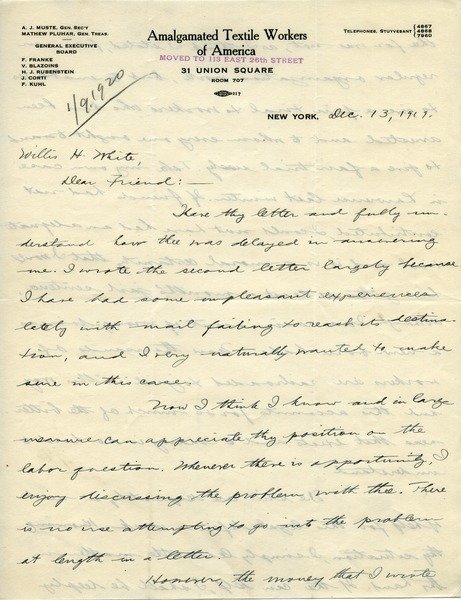 Letter from A. J. Muste to Willis H. White, December 13, 1919