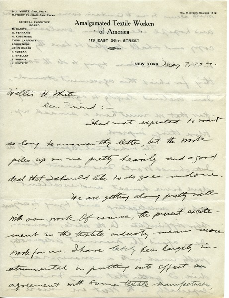 Letter from A. J. Muste to Willis H. White, May 7, 1920