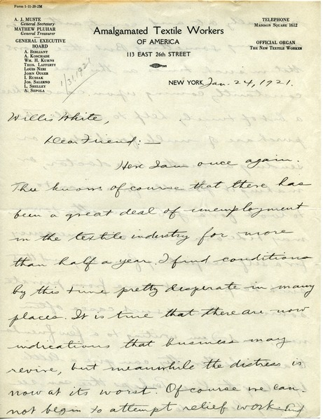 Letter from A. J. Muste to Willis H. White, January 24, 1921