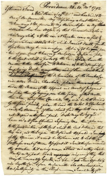 Draft of letter from Moses Brown to Samuel Elliot, ca. October 25, 1792