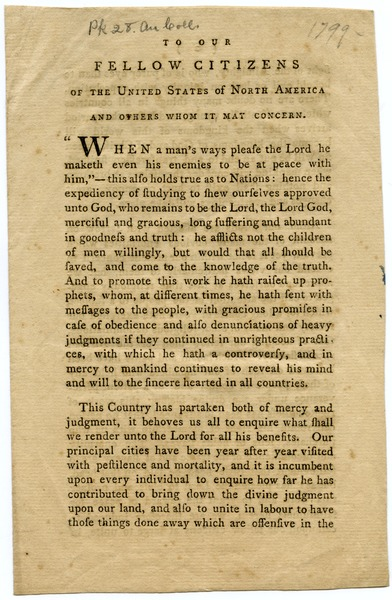 To our fellow citizens of the United States of North America, and others whom it             may concern, ca. 1799