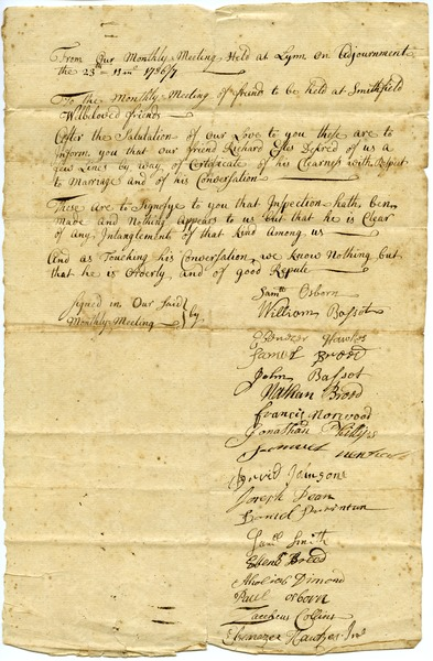 Lynn Monthly Meeting certificate of clearness for marriage for Richard Estes, November 23, 1736