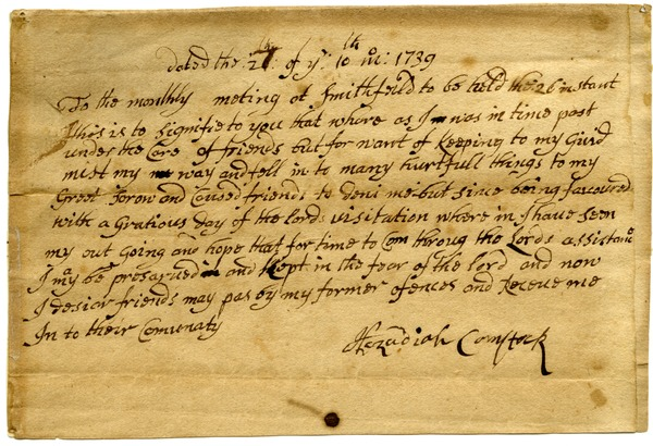 Hezadiah Comstock request for reinstatement to membership in Smithfield Monthly             Meeting, October 21, 1739