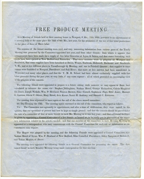 Free produce meeting, ca. 1849