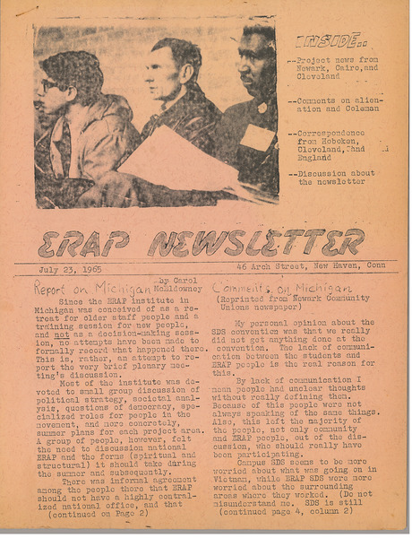 ERAP Newsletter, July 23, 1965