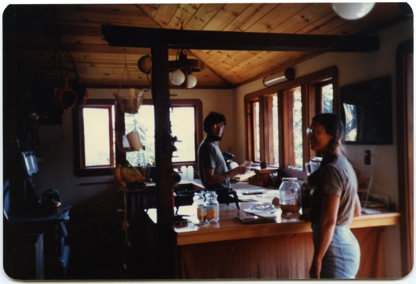 Mark and Sandi Sommer in kitchen, Salmon Creek house, July 1984
