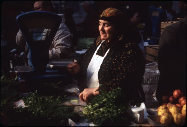 Women selling greens and produce, May 1990