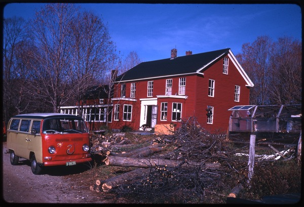 17 room house and Nina's Volkswagen microbus, Montague Farm Commune, November 1970