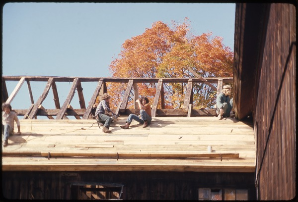Roofing work on the barn, Montague Farm Commune, October 1976