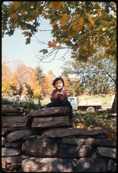 Young child seated on a stone wall, Montague Farm Commune, October 1976