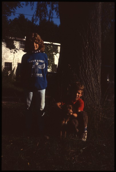 Two children and a dog, May 1987