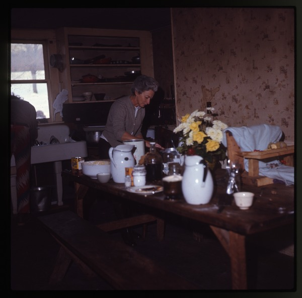 Nina Keller's mother in the kitchen, Montague Farm Commune, January 1971