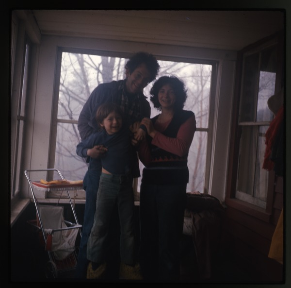 Dan Keller, Nina Keller, and Eben Light on front porch, Montague Farm Commune, April 1977