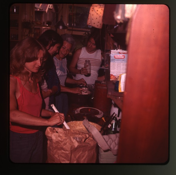 Baking school in the kitchen, Montague Farm Commune, June 1978
