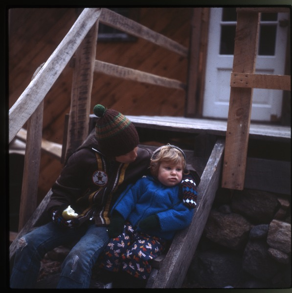 Keller kids on stoop, Wendell Farm, December 1979