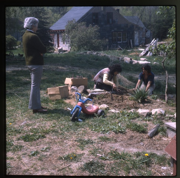 Nina Keller, her mother,and unidentified planting (perennials), Wendell Farm, May 1982