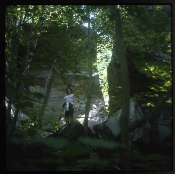 Nina Keller in woods, Wendell Farm, June 1983