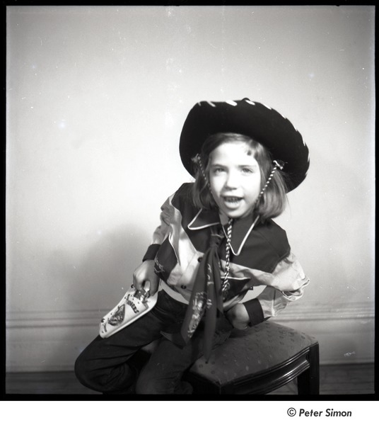 Carly Simon: full length portrait in cowboy costume, ca. 1955