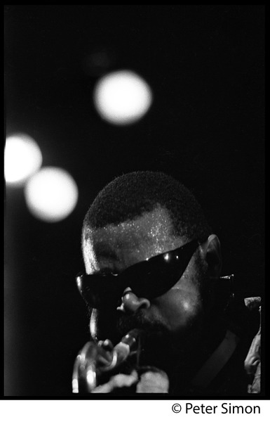 Rahsaan Roland Kirk in performance (close-up), Newport Jazz Festival, July 4, 1969