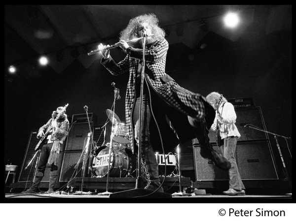 Jethro Tull in concert, Newport Jazz Festival: L. to r.: Glenn Cornick (bass), Ian Anderson (flute), Martin Barre (guitar): , July 4, 1969