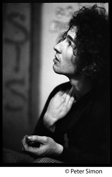 Tim Buckley backstage, probably at the Unicorn Coffee House: Portrait in profile: , February 1969