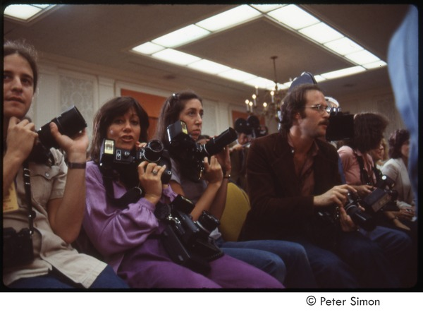 MUSE concert and rally: photographers at a press conference, September 1979