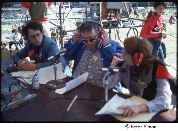 MUSE concert and rally: Danny Schechter (l) with two unidentified journalists, September 23, 1979