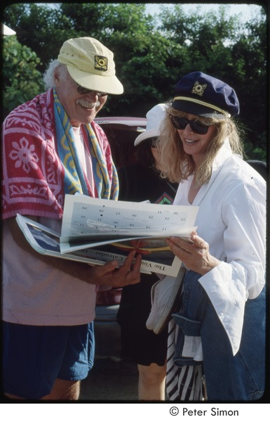 Ram Dass and Susan Harris looking at Peter Simon's Vineyard calendar, Sharon Salzberg in the background, 1992