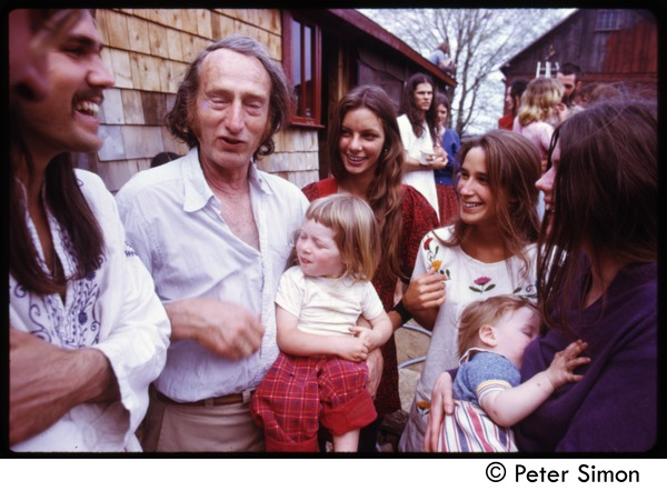 Stephen Lefebvre, unidentified man (with baby) and woman, Anna Laracou, and Catherine             Blinder (with baby) at May Day celebration, Tree Frog Farm commune, ca. 1972