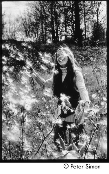 Lacey Mason with dandelions, Tree Frog Farm commune, ca. 1972