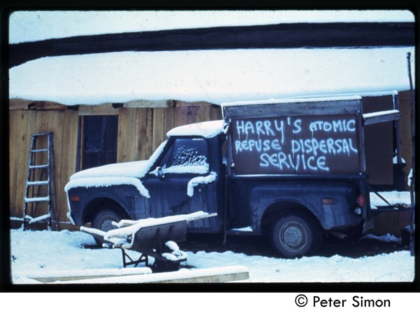 'Hippy snow removal': Harry's Atomic Refuse Dispersal Service, Tree Frog Farm Commune, ca. 1972